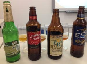 Cervejas degustadas em aula.