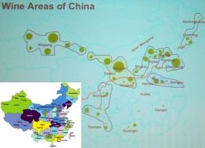 Mapa das regiões vinícolas da China. Em tamanho menor, mapa da China para você se guiar.