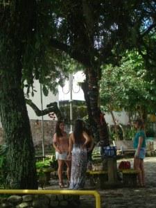 A tranquilidade das meninas tomando um espumante na pracinha. Faça igual!